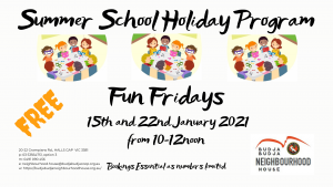 Summer School Holiday Program - Fun Fridays @ Budja Budja Neighbourhood House